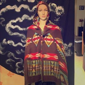 AZTEC SCARF HOODED PONCHO
